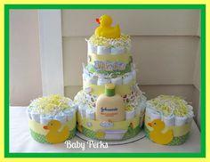 Gender Neutral Duck Diaper Cake Set. $75.00, via Etsy.