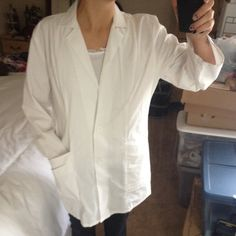 White Lab Coat - Perfect for a Costume White lab coat for Doctor / Esthetician or a costume outfit. Used only for one semester of beauty school. There's a few stains around the collar and down by the front pockets (see pictured) ➡️ No longer available after 12pm PST today. Make me an offer!⬅️ Jackets & Coats