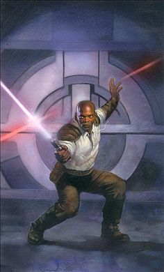 Mace Windu for Star Wars Miniatures: Masters of the Force art by Terese Nielsen
