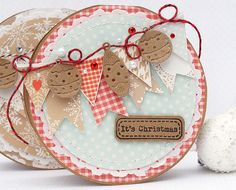 round card design with bunting and bauble toppers and lace and gingham background