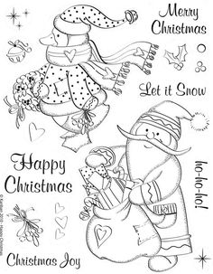This is one of my most favorite Christmas themed stamp sets.see: It is called Happy Christmas and it is adorable! Colouring Pages, Adult Coloring Pages, Coloring Books, Christmas Colors, Christmas Crafts, Xmas, Christmas Coloring Pages, Christmas Embroidery, Christmas Printables