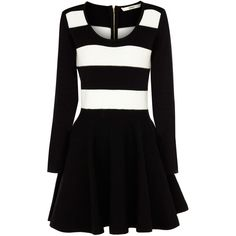 OASIS Compact Stripe Dress (20 CAD) ❤ liked on Polyvore featuring dresses, vestidos, multi, black flare dress, black fit and flare dress, black striped dress, striped dress and black skater dress