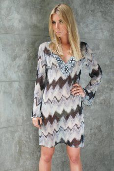 The Willa Black and White Silk Kaftan Dress