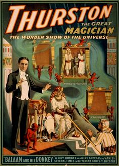 """The poster says that """"a boy, donkey and girl appear and vanish several times in different parts of the theatre."""""""