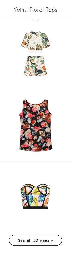 """""""Yoins: Floral Tops"""" by loveyoins ❤ liked on Polyvore featuring shorts, crop top, tops, yoins, black, shirts & tops, floral print shirt, floral vest, chiffon shirt and chiffon vest"""