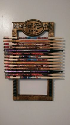 My Son made this Hard Rock Drum Stick Holder. It would be a nice way to hold your drum sticks you collect from concerts or from Hard Rock