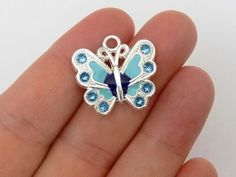 5  Blue Enamel Butterfly Charms  Crystal by StashofCharms on Etsy