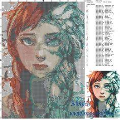 Anna et Elsa (La reinde des neiges) grille point de croix