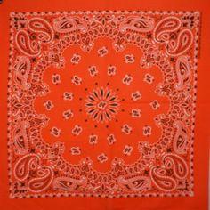 "Orange Paisley 22"" Bandana 100% Cotton Made in USA    eBay twistedpeace"