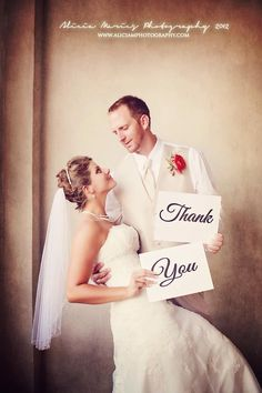 cute wedding pose for thank you letters!