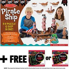 Pirate Ship 3D Puzzle  Playset In One  FREE Melissa  Doug Scratch Art MiniPad Bundle 90452 *** You can get more details by clicking on the image. (This is an affiliate link)
