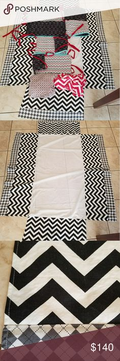 Baby boy crib bedding Handmade. 4 (reversable) bumper the 2 long ones are 50in. Long The 2 short ones are 26in long. The skirt is 50in long(longer side) 26in long( shorter side) it is 14 in high, theres a tear on the skirt as seen in pics 4 and 5, but you cant see that when its on the bed. The crib sheet has a rip that happened the 1st time I put them on the mattress and its held up for over 3 years & still functions good. The red and white chevron is a minky changing pad cover. Other