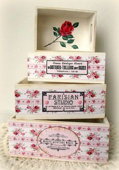 How to Decoupage Shabby Stacking Boxes ♥ by Melissa Bove ♥ also, see CS May Linky Party and SALE!