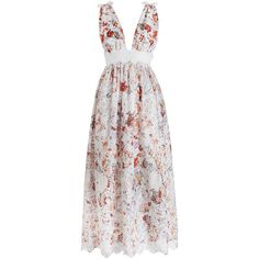 ZIMMERMANN Alchemy Flutter Back Dress (7.306.315 IDR) ❤ liked on Polyvore featuring dresses, embroidered lace dress, swim dress, white embroidered dress, white dress and floral print dress