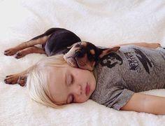 Adorable Photos Sleeping Baby and Puppy