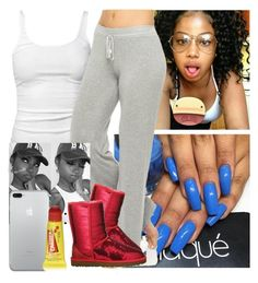 """"""""""" by saucinonyou999 ❤ liked on Polyvore featuring James Perse, Juicy Couture, UGG Australia and Carmex"""