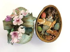Spun cotton Easter bunny in egg by Arbutus Hunter Easter Egg Crafts, Easter Projects, Easter Bunny, Easter Eggs, Easter Decor, Clay Ornaments, Candy Containers, Tiny Treasures, Egg Decorating