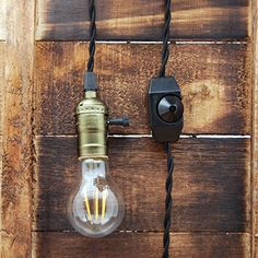 Whirled Planet Single Copper Socket Vintage-Style Pendant Light Cord w/Dimmer, 11 Ft Twisted Cloth Cord (Black) Led Pendant Lights, Pendant Lighting, Vintage Style, Vintage Fashion, Home Automation, Mason Jar Lamp, Hanging Lights, Light Decorations, Light Fixtures