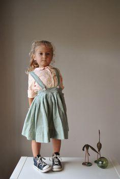 1950s Moss Suspender Skirt size 3t/4t  // DeuxParDeux.com // Deux Par Deux // kids clothes // kid style // fashion for kids