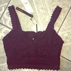 Crochet Crop Top Super cute!!! Brand new! Price is firm because this item is rare and sold out everywhere! Handmade. Topshop Tops Crop Tops