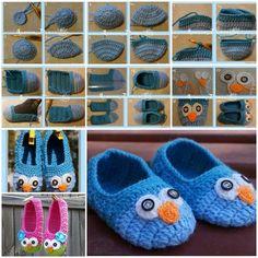 DIY Cute Crochet Owl Slippers for Kids Emma wants these Crochet Cross, Crochet Home, Crochet Gifts, Cute Crochet, Crochet For Kids, Diy Crochet Slippers, Crochet Baby Booties, Crochet Clothes, Crochet Projects