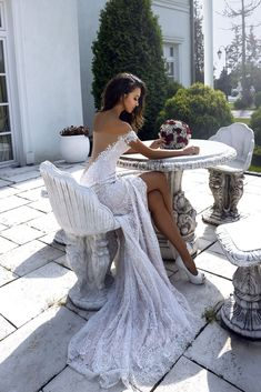 """Stunning Embroidered Off Shoulder Slit Sheath Wedding Dress / Bridal Gown with Open Back Illusion and a Train. Collection """"Love in The Palace"""" by Marry Line by Tina Valerdi Grey Bridesmaids, Grey Bridesmaid Dresses, Bridal Dresses, Blake Lively Wedding Dress, Dream Wedding Dresses, Wedding Gowns, Party Wedding, Wedding Ceremony, Lace Wedding"""