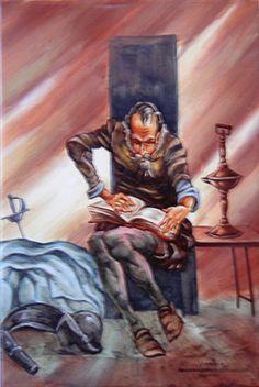 Inmerso en plena lectura nuestro caballero devora libros uno tras otro, acrecentando su anhelo de convertirse en un caballero andante. Magnífica repordución sobre cerámica y pintado artesanalmente.