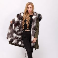 CNEGOVIK female Silver Fox Fur Lined cotton long Parka with racoon fur hood detachable high quality. Yesterday's price: US $278.81 (229.40 EUR). Today's price: US $278.81 (231.25 EUR). Discount: 51%.