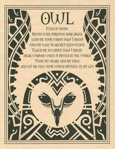 """Embracing the wisdom of the spirit, the Owl Poster depicts a poetic prayer to the totem spirit of the owl, within the upswept wings of a wondrous owl. 8 12"""" x 1"""
