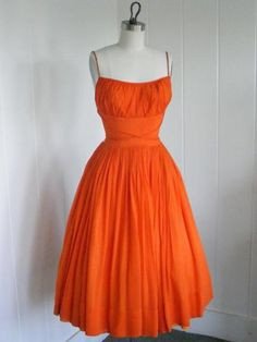 Vintage Labels ~Vintage orange chiffon prom dress with rhinestone straps. Tulle underskirt and taffeta lining, ruched bust, a nipped waist, and a full circular skirt. No maker label. Sold on Etsy by vintagebluemoon. Vintage Dresses, Vintage Outfits, Vintage Fashion, Vintage Style, Vintage Tea, Pretty Outfits, Pretty Dresses, Picnic Dress, 1950s