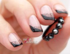 black nails, nail art, French manicure