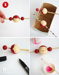 Making dolls with wooden beads. Making dolls with wooden beads. Making dolls with wooden beads. Wooden Pegs, Wooden Dolls, Easy Crafts For Kids, Diy And Crafts, Clothespin Dolls, Kokeshi Dolls, Fairy Dolls, Teds Woodworking, Doll Face