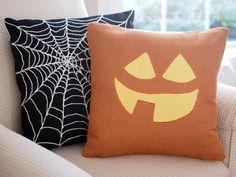 Jack o Lantern Pumpkin Pillow Cover TABITHA Cute Halloween Decor 18 x 18. $34.00, via Etsy.
