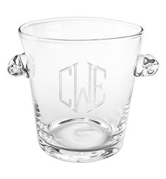 Monogrammed Glass Ice Bucket