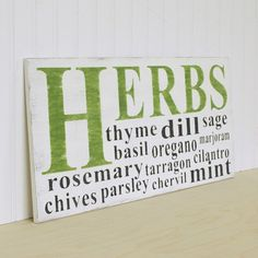 Herbs Kitchen Sign in Wood. Cottage White, Charcoal Black  and Green thyme basil oregano. $75.00, via Etsy.