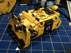 Black, Fist, Fists, Imperial, Imperial Fists, Painted, Space Marines, Tank, Vindicator, Warhammer 40,000, Yellow