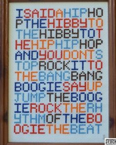rapper's delight cross stitch! brilliant. by monimarin