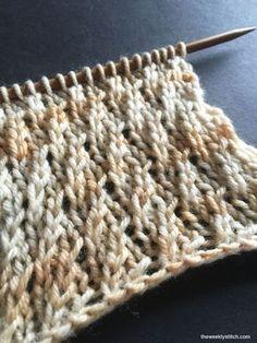 Twisted Stockinette Rib - ein Muster für eine Maschenanzahl teilbar durch 3 über vier Reihen - gefunden auf theweeklystitch.com