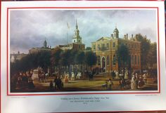 """Each year since 1933, the First Family has sent out a Christmas Greeting.  The painting """"Philadelphia in 1858"""" by Ferdinand Reinhardt, a painting in the White House, with the inscription """"Wishing you a Joyous Christmas and a Happy New Year"""" was sent as a large gift print by President and Mrs. Ford in 1976.  The outer red envelope is included."""