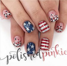 Easy of July Nails and Fourth of July nail art designs. Get inspired with patriotic red, white and blue nails this Summer. July 4th Nails Designs, Nail Art Designs, Fingernail Designs, 4th Of July Nails, Hair And Nails, My Nails, Firework Nails, Pointy Nails, Coffin Nails