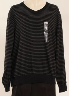 TOMMY HILFIGER SWEATER, IKE STRIPED V NECK SW BLACK XL