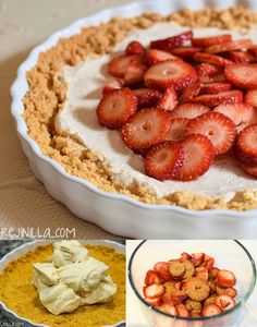 Pastel helado de yogur y fresas