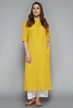 Utsa by Westside Yellow Solid Kurta Tunic Designs, Kurta Designs Women, Dress Indian Style, Indian Wear, Westside Kurti, Ethnic Trends, Yellow Kurti, Designer Kurtis Online, Kurti Styles