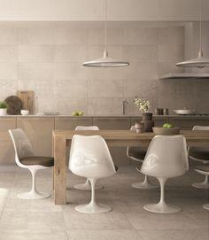 La #cucina è un ambiente speciale, come DOWNTOWN, collezione in #gres #porcellanato di ABK . #floor Ivory 60x60cm #wall Ivory e Ivory Random 30x60cm #abkemozioni #ceramic #tiles #kitchen