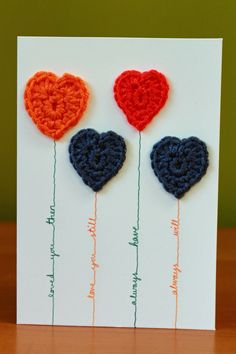 "Crocheted Balloon Hearts Anniversary / Valentine / Birthday /Love Greetings Card. Original and Handamde. 6""x4"". by DAISYandARTHUR on Etsy"
