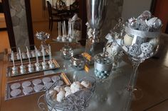 Dessert Table at a Silver Christmas Party #silver #christmastable