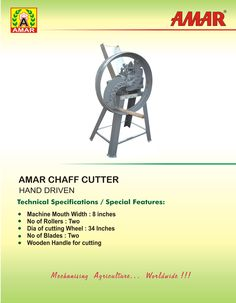 Amar Manual Chaff Fodder Cutter Agricultural Implements, Wooden Handles, Ulzzang Girl, Manual, Agricultural Tools, Textbook