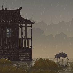 A gloomy pixel art scene by Waneella. Pixel Art Gif, How To Pixel Art, Pixel Art Games, Gifs, Game Design, Der Steppenwolf, Arte 8 Bits, Pixel Art Background, Pixel Animation