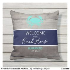 Modern Beach House Nautical Teal Blue Personalized Outdoor Pillow Us Beaches, Home Reno, Blue Design, Outdoor Throw Pillows, Teal Blue, Beach House, Nautical, Monogram, Lettering