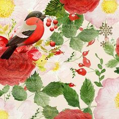 Free Image on Pixabay - Christmas, Bird, Floral, Berry Rooster, Painting, Animals, Art, Art Background, Animales, Animaux, Painting Art, Kunst